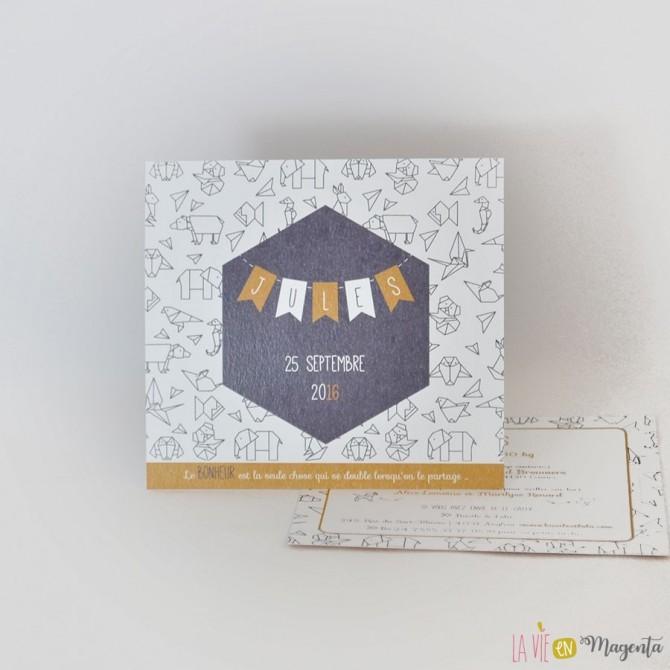 Faire-part Animaux origami