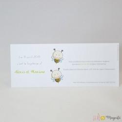 Faire-part baptême Petite abeille