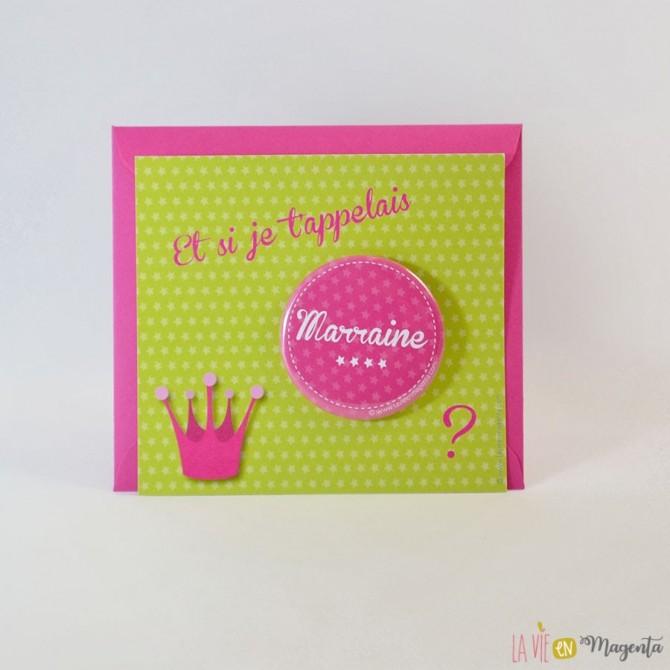 Génial Veux Tu Etre Ma Marraine Texte badge reine marraine - la vie en magenta