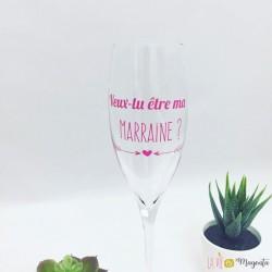 Sticker flûte champagne-Veux-tu être ma marraine