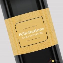 Etiquette pour bouteille - Félicitations pour l'ouverture