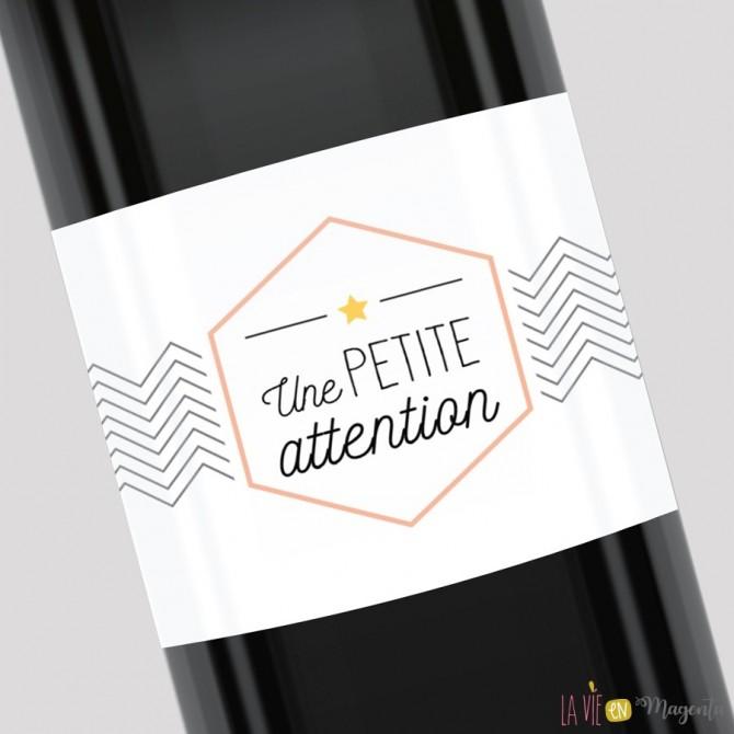 Etiquette pour bouteille - Une petite attention