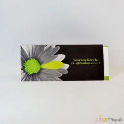 Faire-part Fleur verte et noire