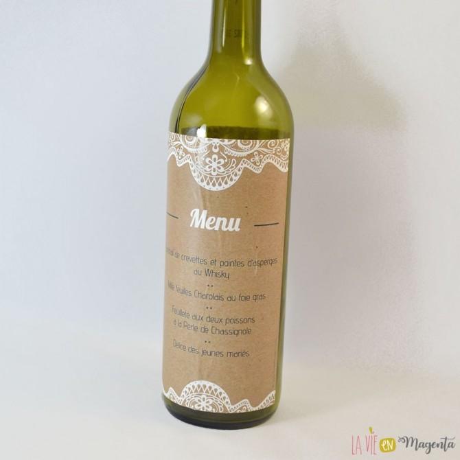 Menu-Etiquette bouteille vin - Effet dentelle