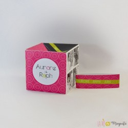 Faire-part Cube fuchsia