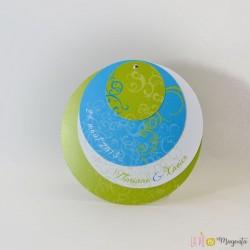 Faire-part Mademoiselle S. vert/turquoise