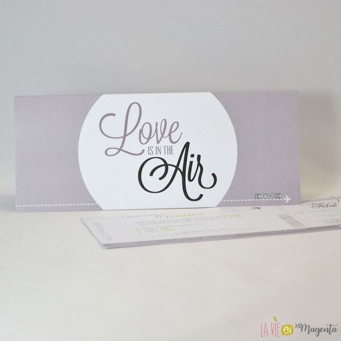 Faire-part Love is in the air-mauve