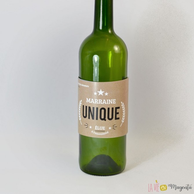 Etiquette de vin Marraine unique