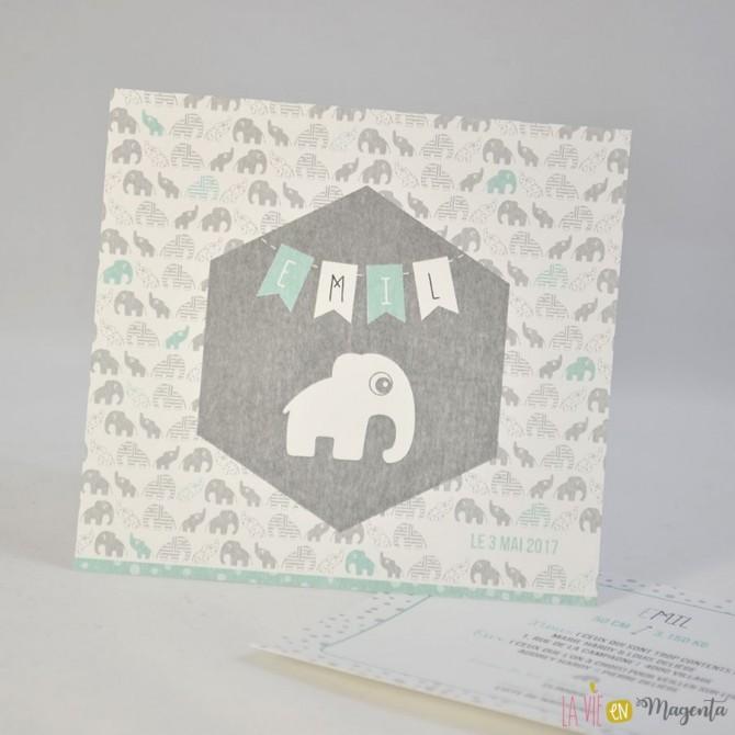 Faire-part Elephant à pois