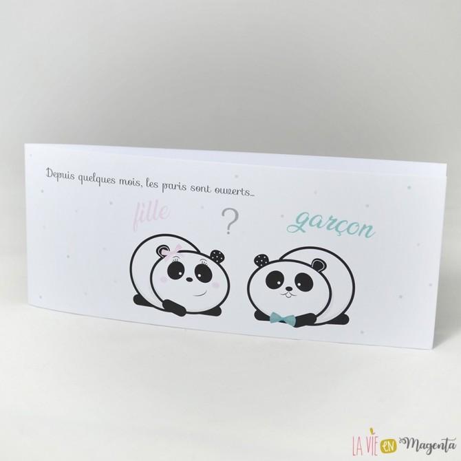 Faire-part Panda fille ou garçon