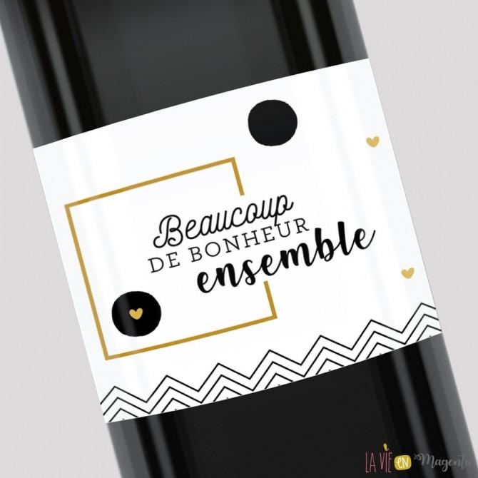 Etiquette de bouteille - Beaucoup de bonheur ensemble