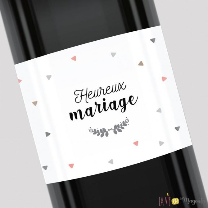 Etiquette pour bouteille - Heureux mariage