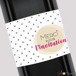 Etiquette pour bouteille - Merci pour l'invitation