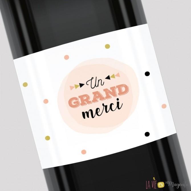 Etiquette pour bouteille - Un grand merci