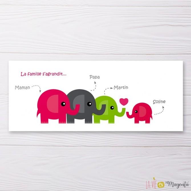 Faire-part Famille éléphant