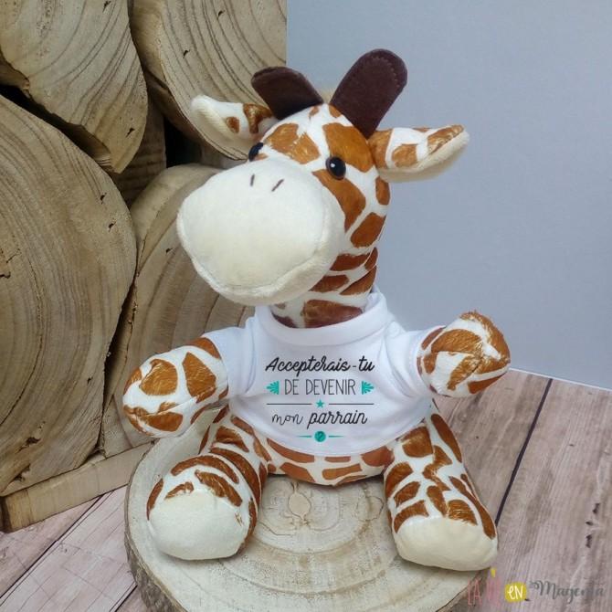 Peluche girafe - Accepterais-tu devenir mon parrain ?