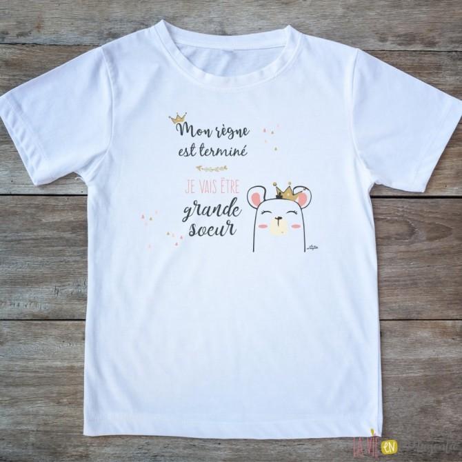 T-shirt Je vais être grande soeur 2/4 ans - règne