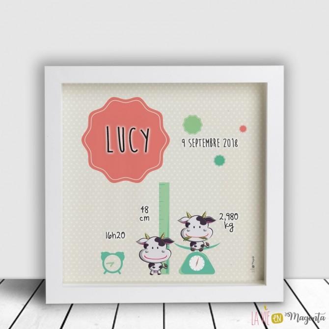 Cadre personnalisé - infos naissance vache