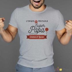 T-shirt super papa avec prénoms