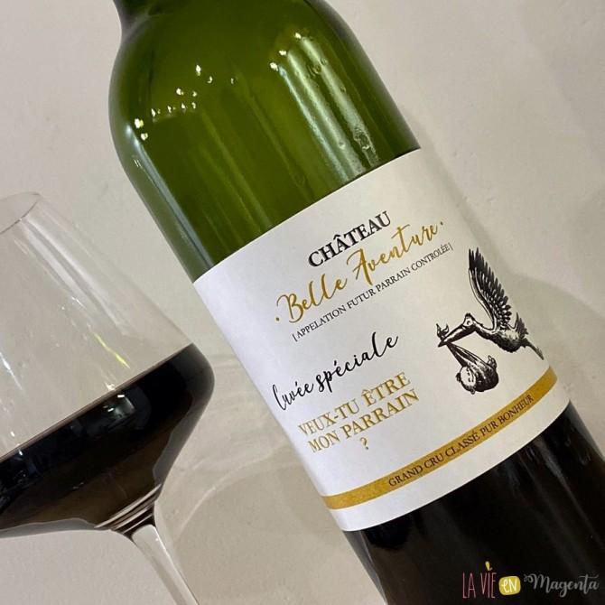 Etiquette de vin parrain - Cigogne