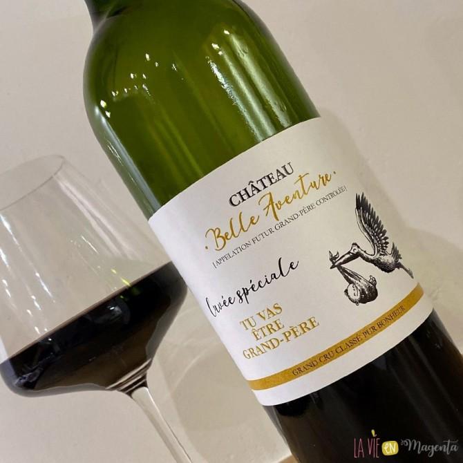 Etiquette de vin grand-père - Cigogne