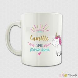 Mug - Super grande soeur licorne (prénom)
