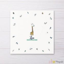 Faire-part naissance carré Jolie Girafe - motif floral