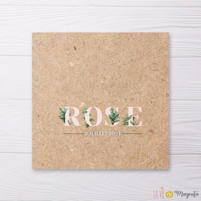 Faire-part carré lettres florales kraft