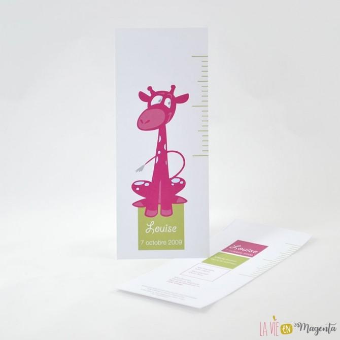 Faire-part Girafe rose/vert